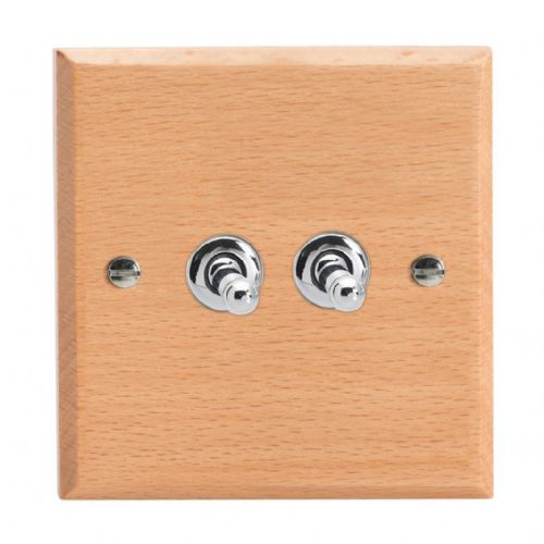 Varilight XKT2BE Kilnwood Scandic Beech 2 Gang 10A 1 or 2 Way Toggle Light Switch